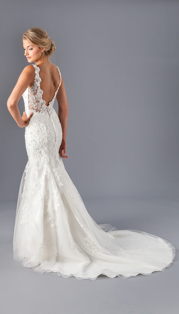 An All Lace Bridal Gown with an Open Illusion Back | Affordable Bridal Gowns Under $1500 | Kennedy Blue