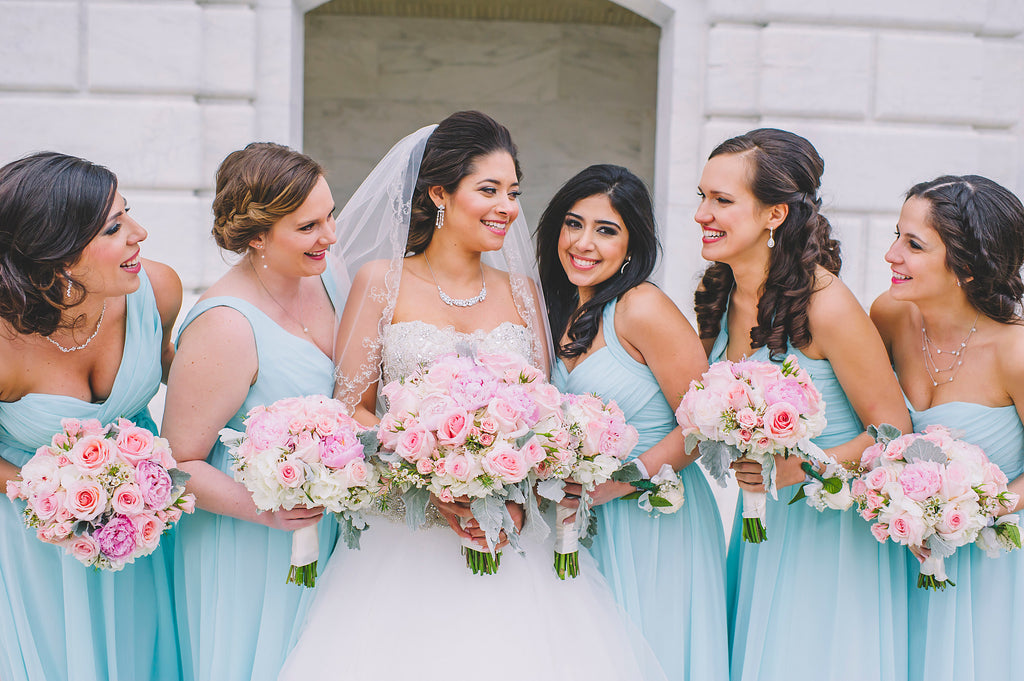 Mix-n-match chiffon bridesmaid dresses in mint | Amanda Dumouchelle Photography | Kennedy Blue