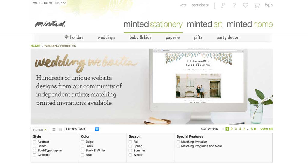 Minted is perfect for creating your wedding website!