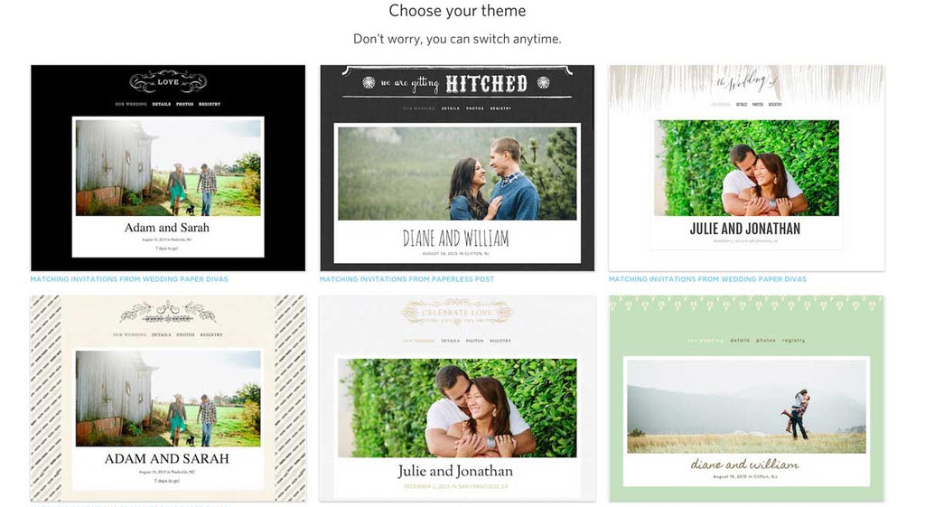 Use The Knot to create your perfect wedding website!