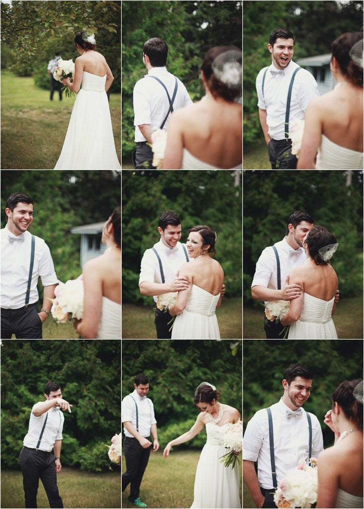 A touching first look between bride and groom at an outdoor wedding | Kennedy Blue wedding dress Avery