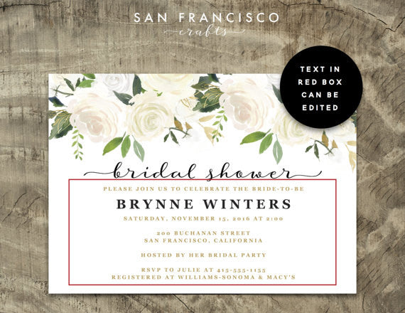 Adorable white, gold, and floral bridal shower invitations! | 52 Awesome Bridal Shower Ideas | Kennedy Blue | SanFranciscoCrafts