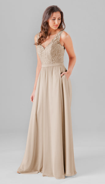 Latte is such a gorgeous bridesmaid dress color for fall weddings! | Your Ultimate Guide To Fall Weddings | Kennedy Blue | Bridesmaid dress style Wren featured in latte