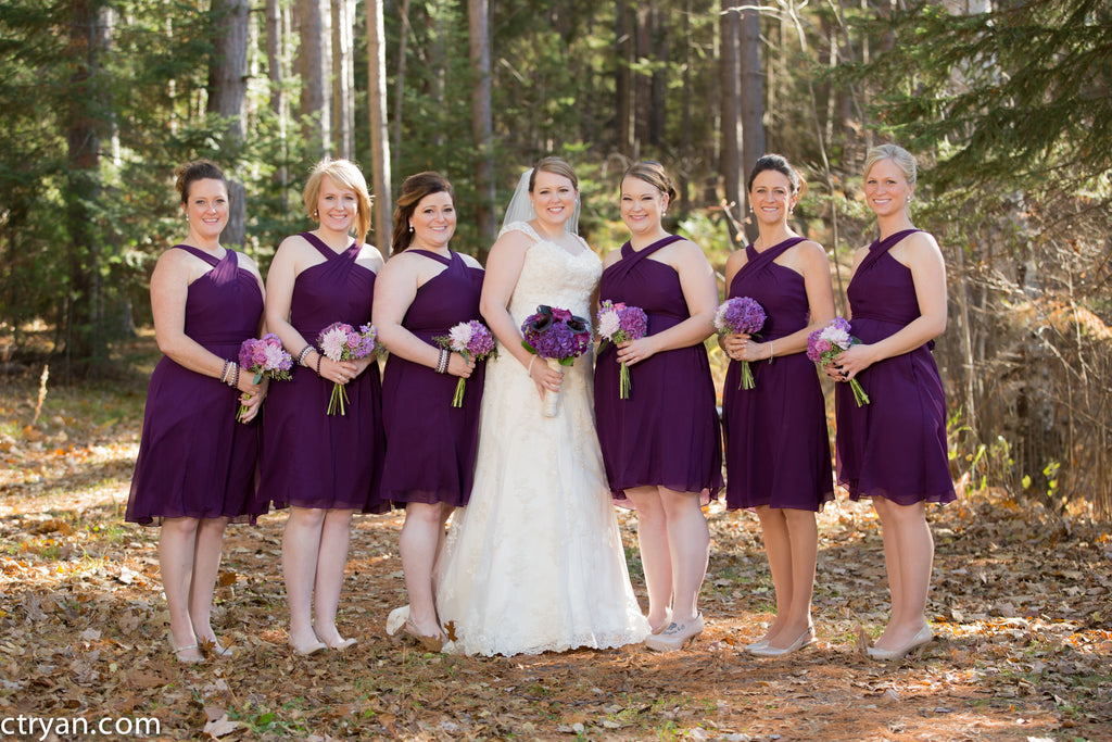 Eggplant purple is perfect for fall weddings! | Kennedy Blue chiffon bridesmaid dresses featured in eggplant