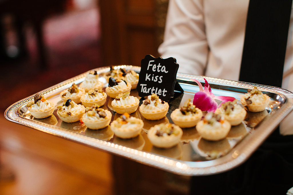 Delicious social hour appetizers for the wedding guests. | A Timeless and Traditional Mansion Wedding