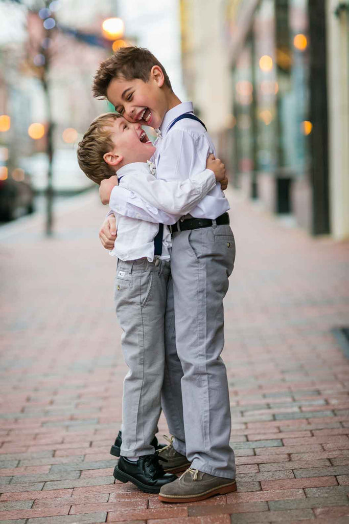 How cute are these ring bearers? | A Blue and Pink Rock 'n Roll Wedding