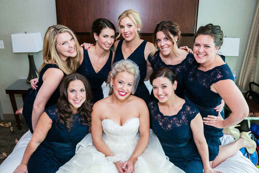 Gorgeous navy blue bridesmaid dresses | A Blue and Pink Rock 'n Roll Wedding
