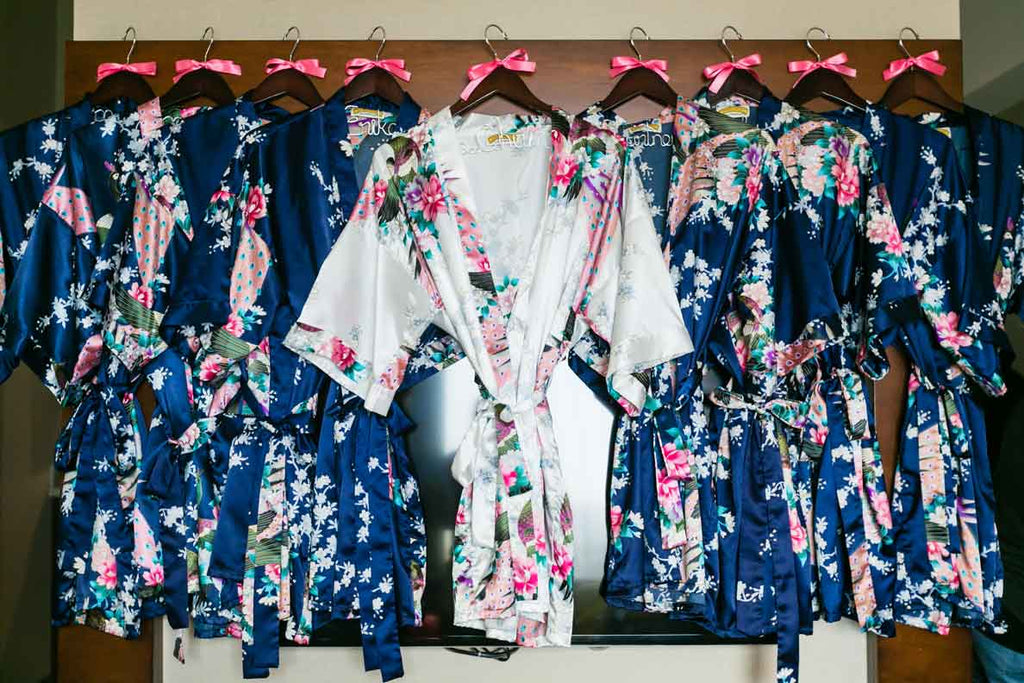 Robes for the bride and bridesmaids | A Blue and Pink Rock 'n Roll Wedding