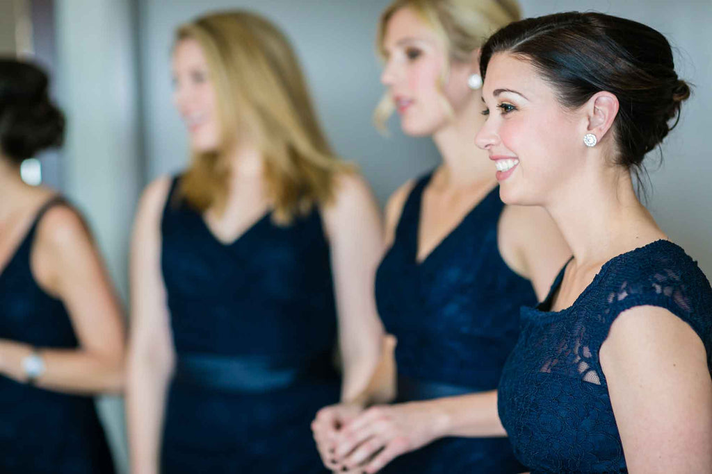 Navy blue lace bridesmaid dresses | A Blue and Pink Rock 'n Roll Wedding