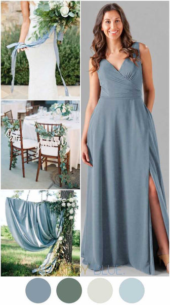 Slate blue is a beautiful color for your wedding palette. | Kennedy Blue bridesmaid dress style Pearl is featured in slate blue