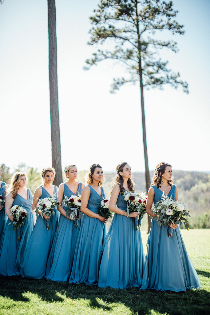 Bridesmaids-During-Ceremony-Emily-Caleb-Featured-BrideStory-Real-Wedding