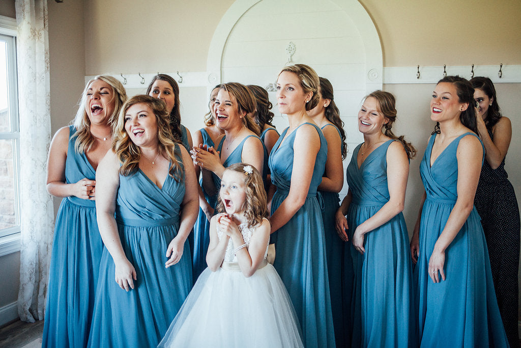 Dress-Reveal-Bridesmaids-Reaction-Emily-Caleb-Featured-BrideStory-Real-Wedding