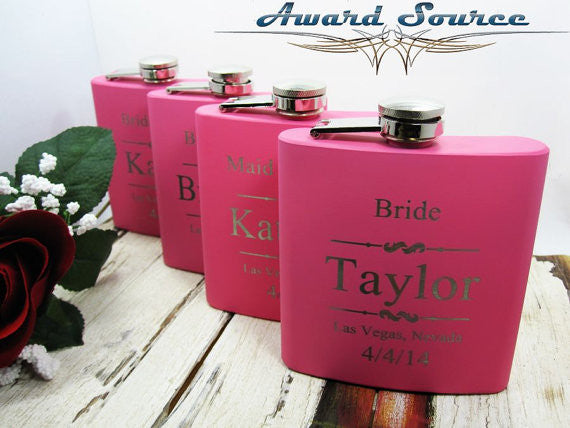 These pink matte flasks are such a cute bridesmaid 'thank you' gift! | 24 Bridesmaid Gifts Your Girls Will Love | Kennedy Blue