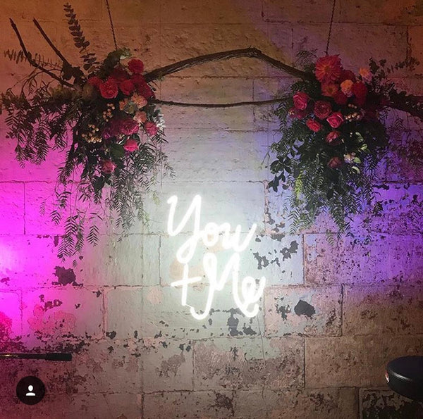 you and me neon wedding sign | How to Pull Off Neon Wedding Signs
