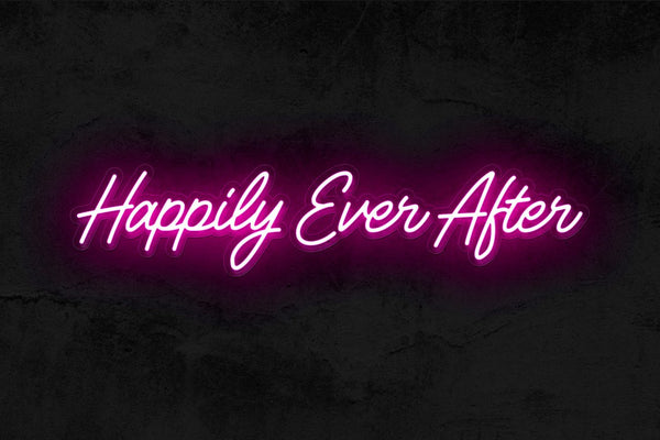 Happily Ever After neon wedding sign | How to Pull Off Neon Wedding Signs