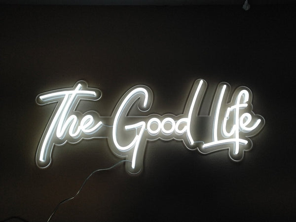 the good life neon wedding sign | How to Pull Off Neon Wedding Signs