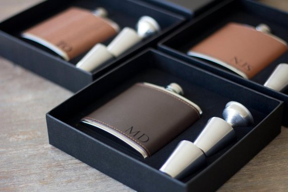 leather-covered flask | 16 Best Man Gift Ideas from the Groom