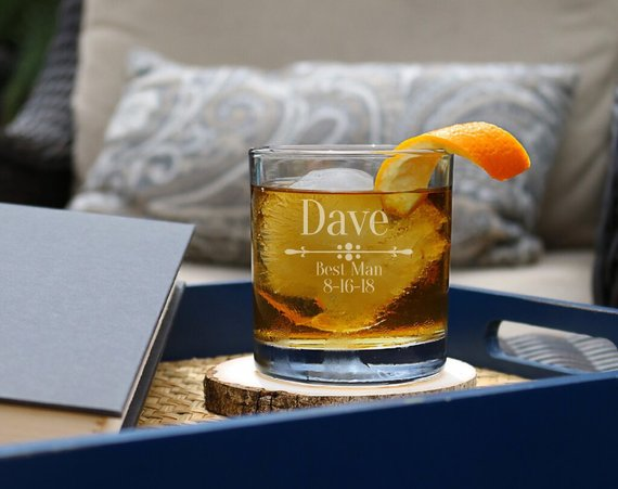 personalized whiskey glass | 16 Best Man Gift Ideas from the Groom