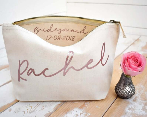 personalized cosmetic bag | bridesmaid gift ideas Kennedy Blue