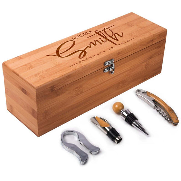 engraved wine box set | bridesmaid gift ideas Kennedy blue