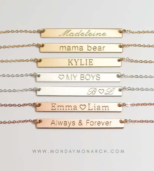 gold engraved bracelets | bridesmaid gift ideas Kennedy blue