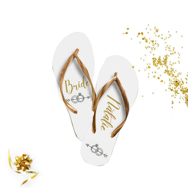 bride and bridesmaid flip flops | bridesmaid gift ideas Kennedy Blue
