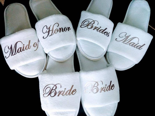 bride and bridesmaid slippers | bridesmaid gift ideas Kennedy blue
