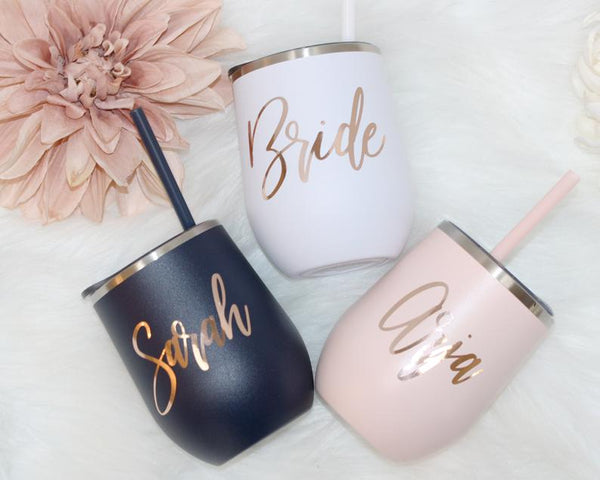 personalized wine tumblers for bridesmaids | bridesmaid gift ideas Kennedy blue