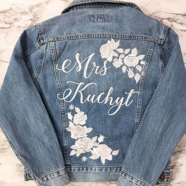 customized bridal jean jacket | Bride Stuff You Need