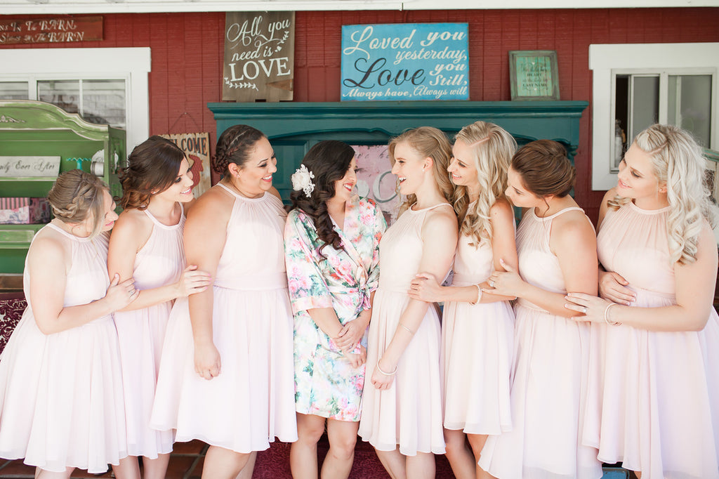 Look at this beautiful blush bridal party! | A Vintage Wedding At Sweet Pea Ranch | Kennedy Blue | Janelle Marina Photography