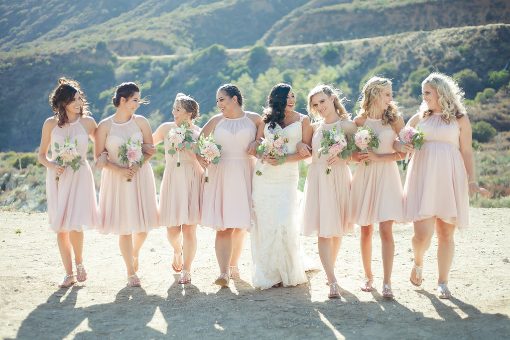Look at this stunning blush bridal party! | A Vintage Wedding At Sweet Pea Ranch | Kennedy Blue | Janelle Marina Photography