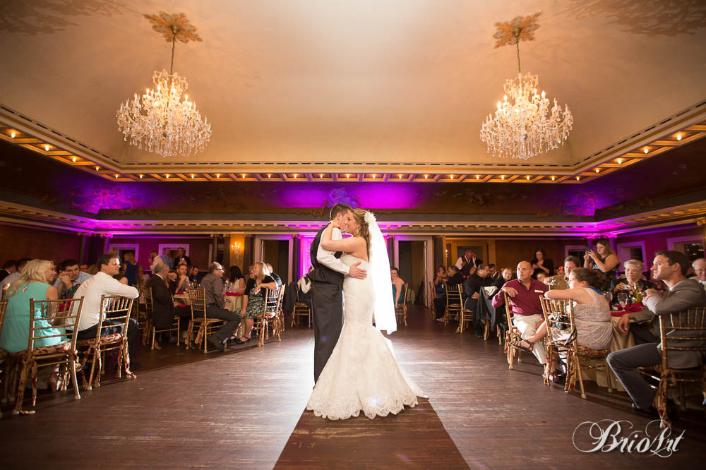 The first dance between the bride and groom in the Semple Mansion ballroom. | A Romantic Jewel-Tone Wedding