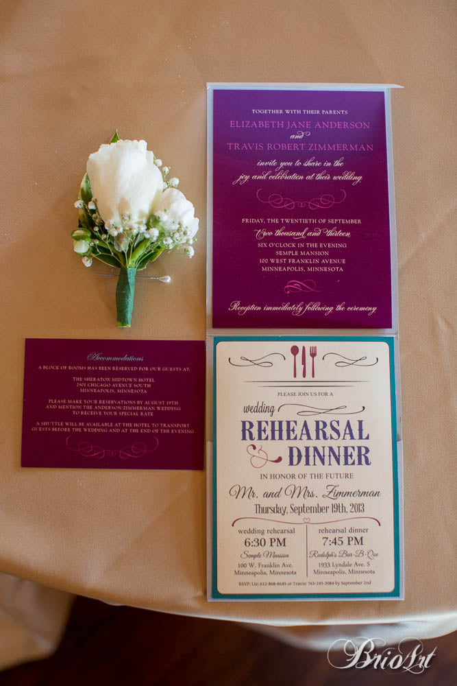 Purple and teal wedding invitations. | A Romantic Jewel-Tone Wedding