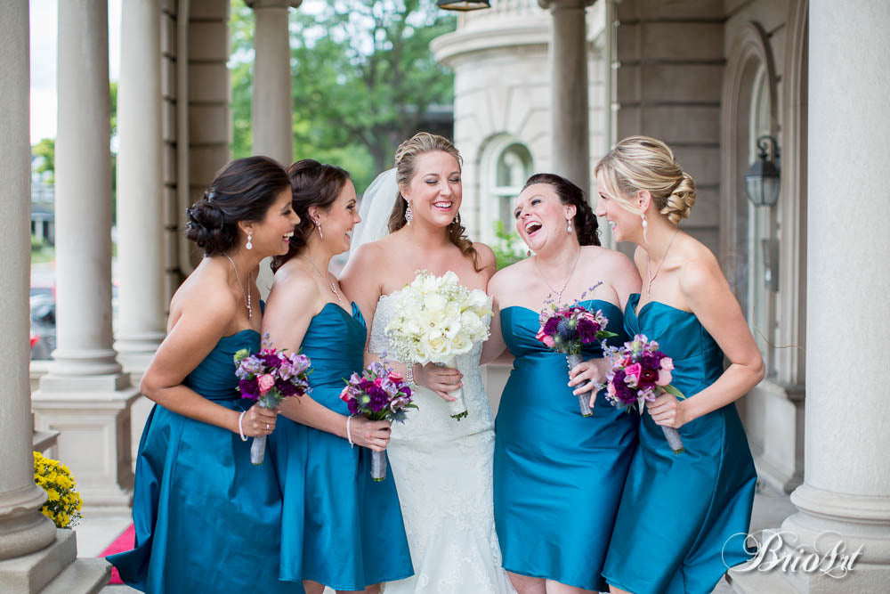 Kennedy Blue's taffeta bridesmaid dresses in Mediterranean. | A Romantic Jewel-Tone Wedding