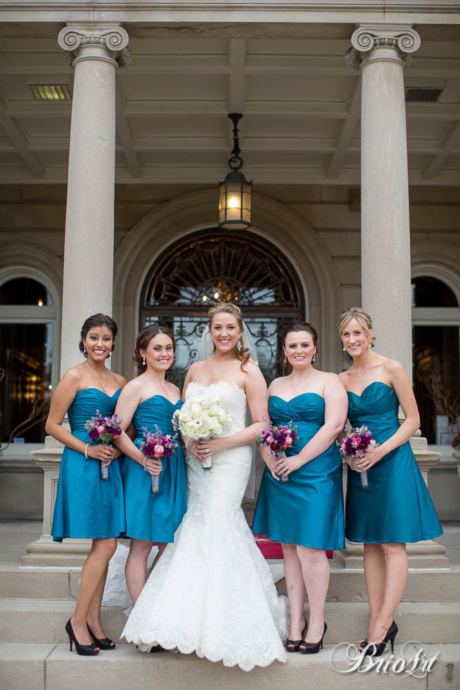 Kennedy Blue's short, tafetta bridesmaid dresses in Mediterranean. | A Romantic Jewel-Tone Wedding