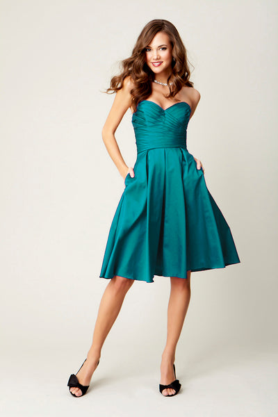 Kennedy Blue Taffeta Bridesmaid Dress Claire in Mediterranean.