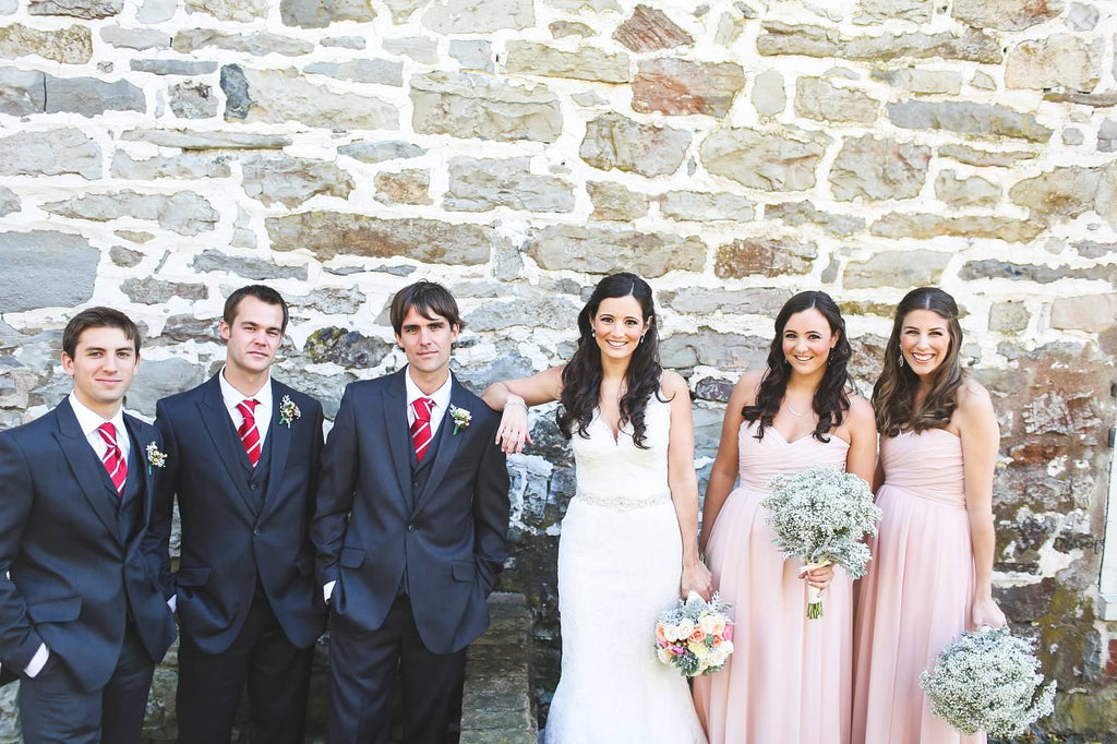 Red and blush bridal party attire. | A Whimsical Autumn Wedding | See the full gallery here!