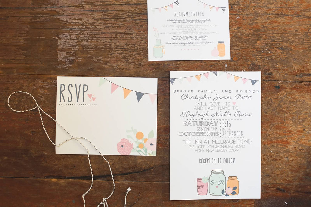 Bunting-themed wedding invitations and stationary | A Whimsical Autumn Wedding | See the full gallery here!