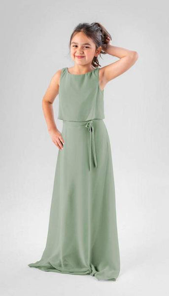 Presley Sage Green Junior Bridesmaid Dress Kennedy Blue