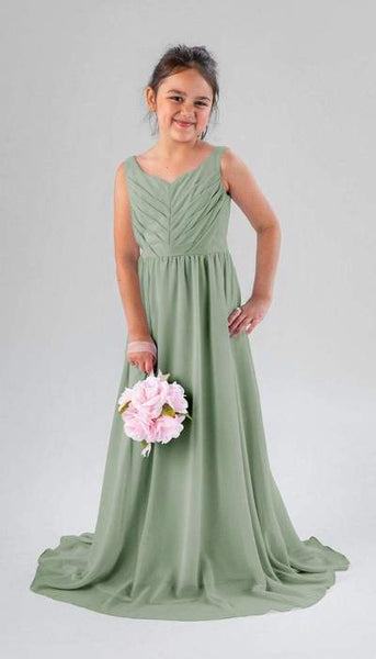 Saylor Sage Green Junior Bridesmaid Dress Kennedy Blue