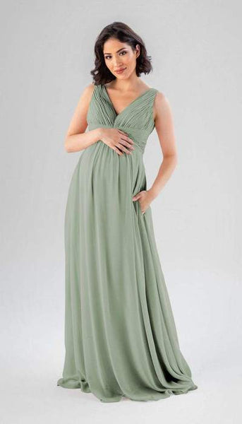 Paisley Sage Green Maternity Bridesmaid Dress Kennedy Blue