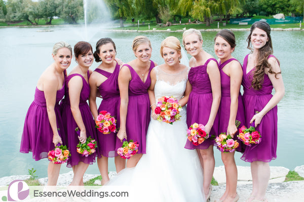 Kennedy Blue bridesmaid dresses in wine.
