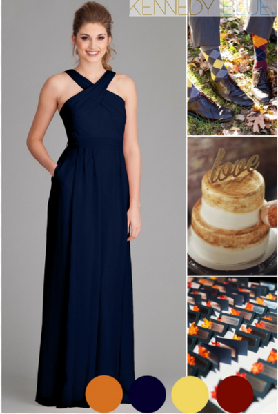 navy blue, orange, buttercup yellow, and claret are a perfect color combo for a fall wedding. Unique but beautiful! | Your Ultimate Guide to Fall Weddings | Kennedy Blue