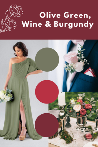 olive green, wine and burgundy wedding palette