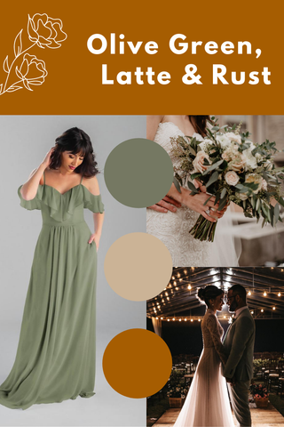 olive green, latte and rust wedding palette