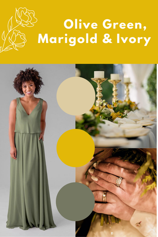 Olive green, marigold and ivory wedding palette