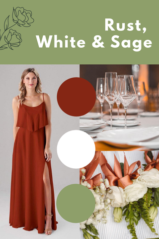 rust white and sage wedding palette