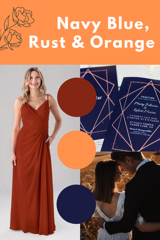 navy blue rust and orange wedding palette