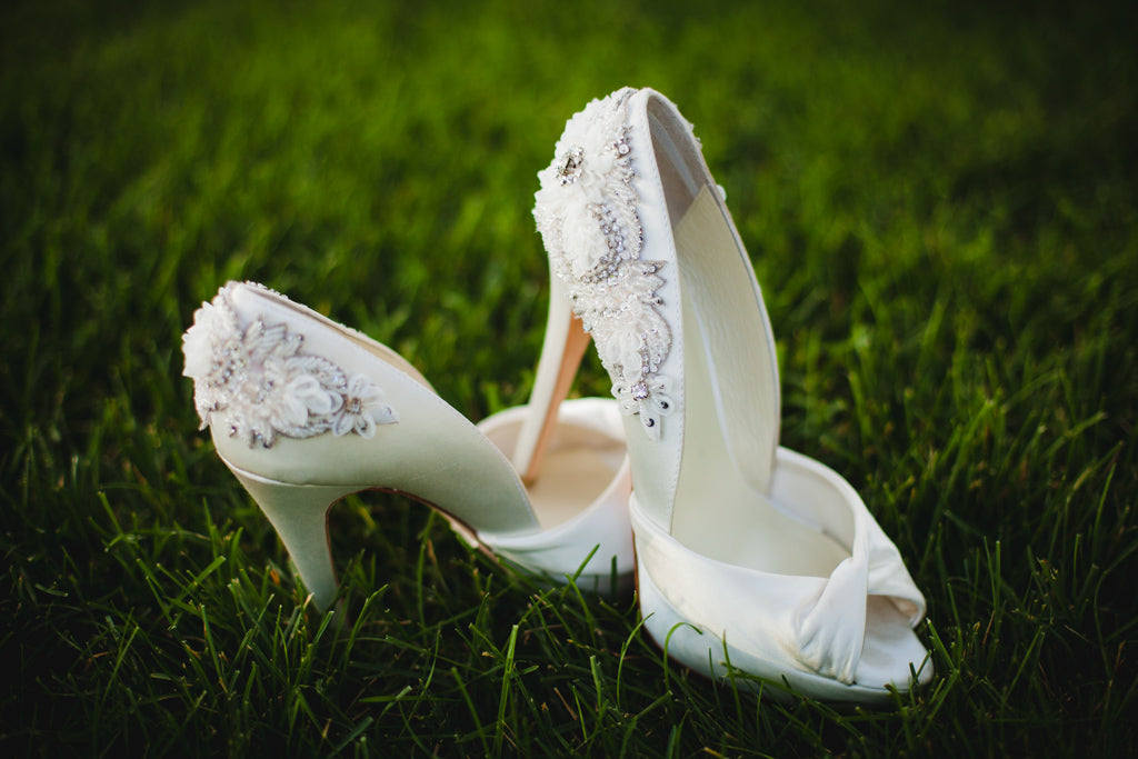 Gorgeous bridal shoes with beaded, floral accents. | A Simple Wedding Dress for a Lakeside Ceremony