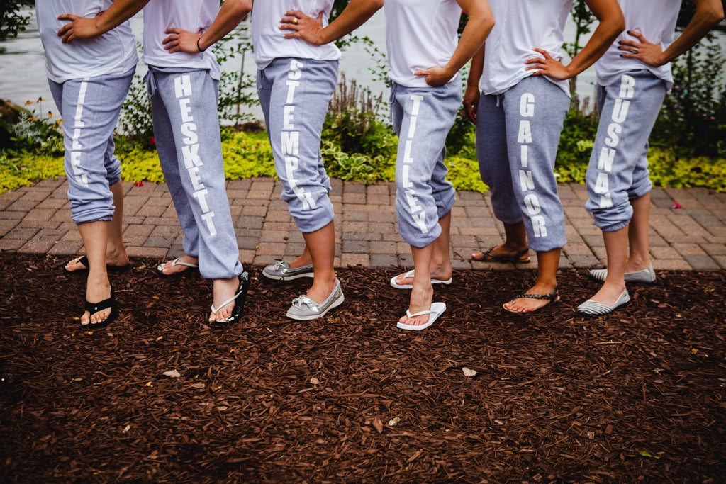 We love these personalized sweatpants as a bridesmaid gift idea! | A Simple Wedding Dress for a Lakeside Ceremony
